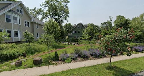 Landscape view of Spirit Corner green space