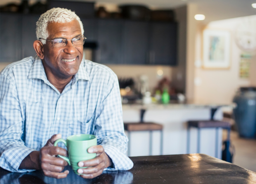 Photo of older adult man at home