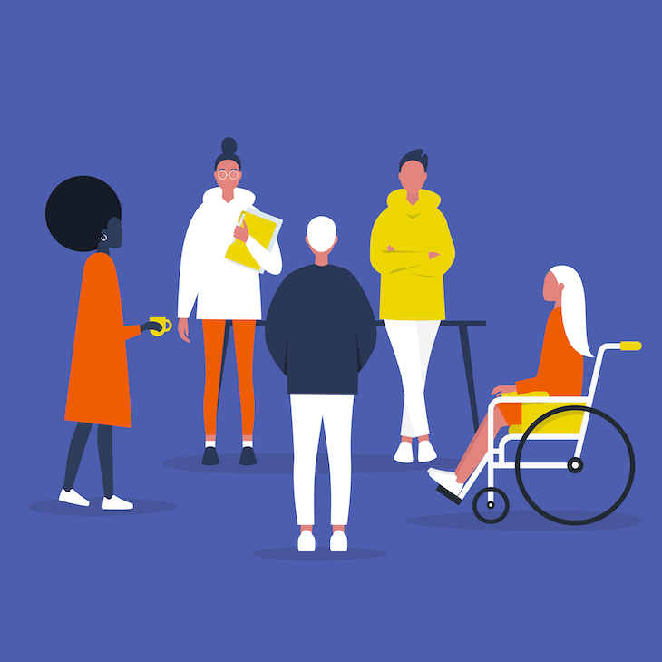Illustration showing a group of different people meeting