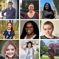 a collage of images of the 2020 summer interns