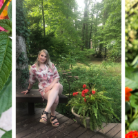 Collage of photos of flowers and photo of Rachel in garden