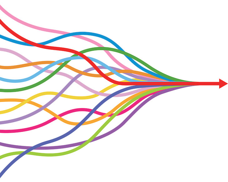 colorful arrows converge