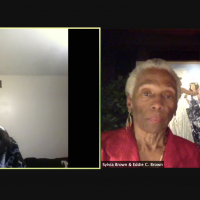 Screen shot of Eddie and Sylvia Brown with Margaret Bernstein