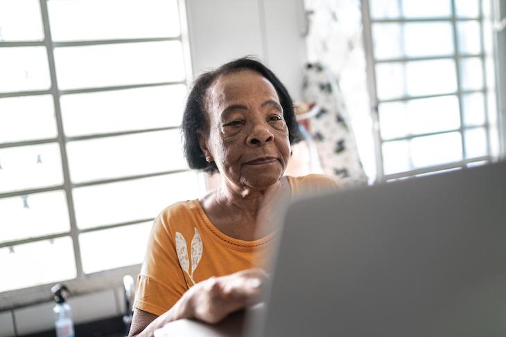 senior woman on laptop