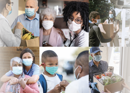 Collage of people learning masks and helping others