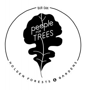 A logo for people for trees features a black and white leaf