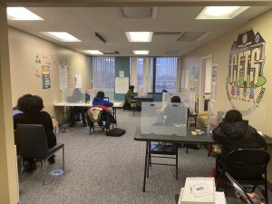 Photo of students in academic learning pod