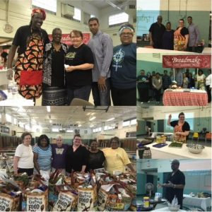 A collage of images of people from Restoration Ministries working on food drive