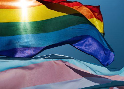close up of gay pride flag and transgender pride flag against blue sky